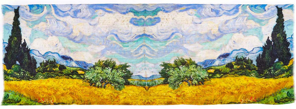 Van Gogh's Wheat Fields Printed on Captiva Cashmere Featherweight Scarf