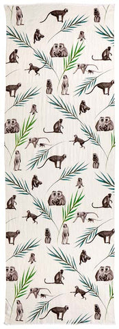 Captiva Cashmere featherweight cashmere Monkey Business scarf with pattern of monkeys and ferns on white background