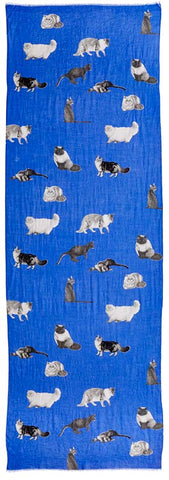 Captiva Cashmere featherweight cashmere Cat's Meow scarf featuring cat design on lapis blue background