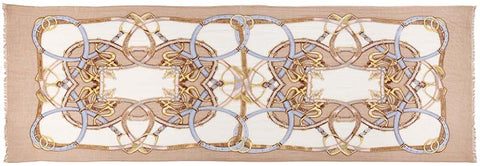 Captiva Cashmere featherweight cashmere Cinta scarf featuring equestrian design on camel and ivory background