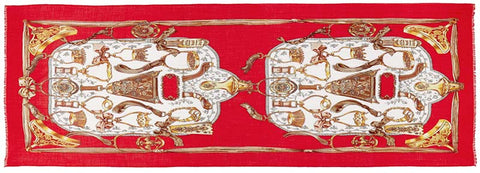 Captiva Cashmere featherweight cashmere equino scarf featuring gold equestrian design on cardinal red background