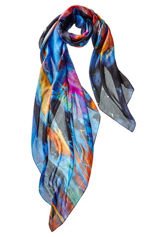 Captiva Cashmere Carol Hagan Starry, Starry Night Shawl colorful expressionist design of buffalo at night made in italy