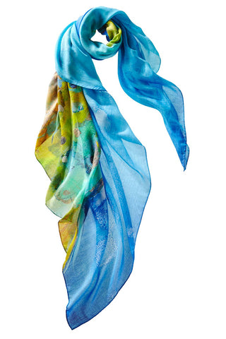 Captiva Cashmere Carol Hagan Wet Rainbow Shawl colorful expressionist design of fish made in italy