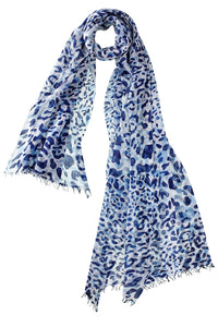 Captiva Cashmere Felted Leopard Scarf in Navy