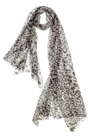Captiva Cashmere Felted Leopard Scarf in Olive
