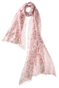 Captiva Cashmere Felted Leopard Scarf in Pink