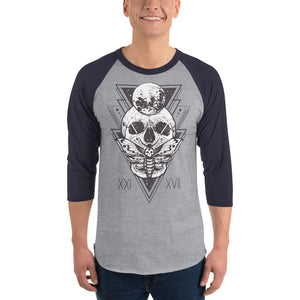 HorrorWeb Cryptic Moth 3/4 sleeve raglan shirt