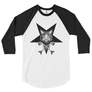 Pentagram Cat 3/4 sleeve raglan shirt