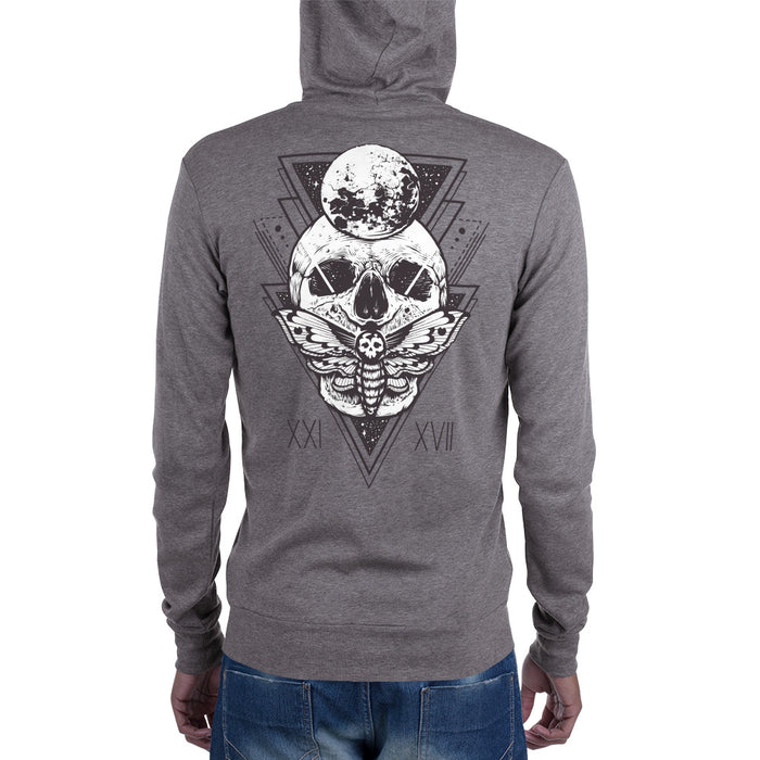 HorrorWeb Cryptic Moth Unisex zip hoodie