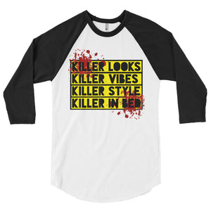 Killer In Bed 3/4 sleeve raglan shirt