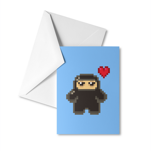 Pixel Ninja Love Greeting Card