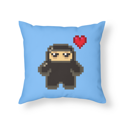 Pixel Ninja Love Throw Pillow