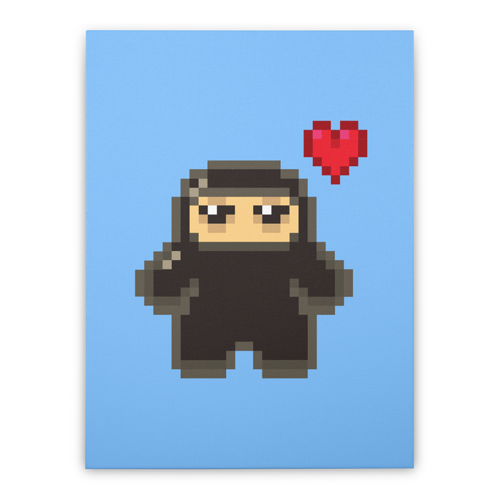 Pixel Ninja Love Stretched Canvas