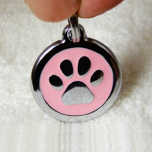 Stainless Steel Circle-Paw Pet ID Tag with Pink Inlay