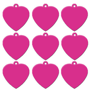 Hot Pink Heart  Aluminum Pet ID Tag