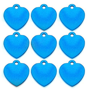 Light Blue Heart  Aluminum Pet ID Tag