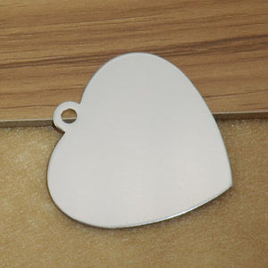 Engravable Aluminum Heart Shaped Pet ID Tag