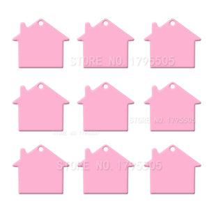 Pink House  Aluminum Pet ID Tag