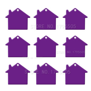 Purple House  Aluminum Pet ID Tag
