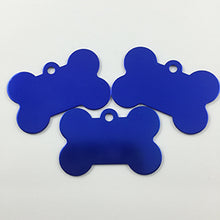 Load image into Gallery viewer, Dark Blue Bone  Aluminum Pet ID Tag