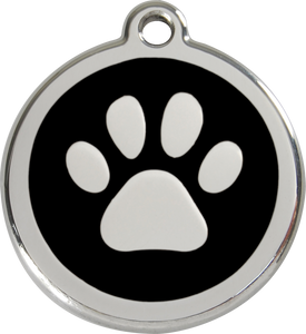 Stainless Steel Circle-Paw Pet ID Tag with Black Inlay
