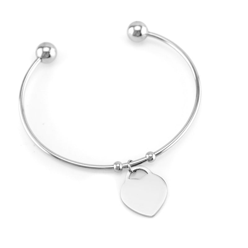 Stainless Steel Bangle with Heart Charm