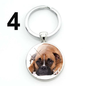 Glass Dome Dog Keychain
