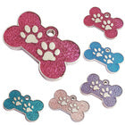 Bone and Paw Pet ID Tag with Coloured Inlay