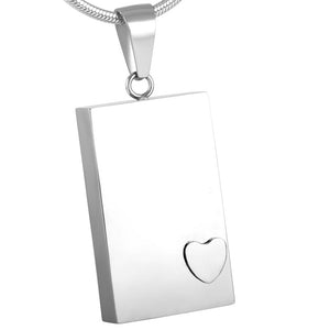 Memorial Urn Necklace - Rectangular with heart