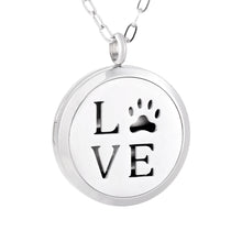 Load image into Gallery viewer, Aroma Therapy Essential Oil Diffuser Necklace - Love Paw