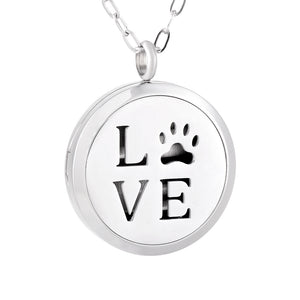 Aroma Therapy Essential Oil Diffuser Necklace - Love Paw