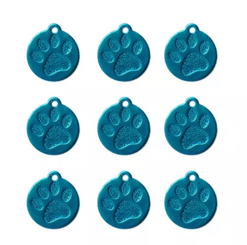 Engravable Aluminum Circle Tag with Paw Inlay