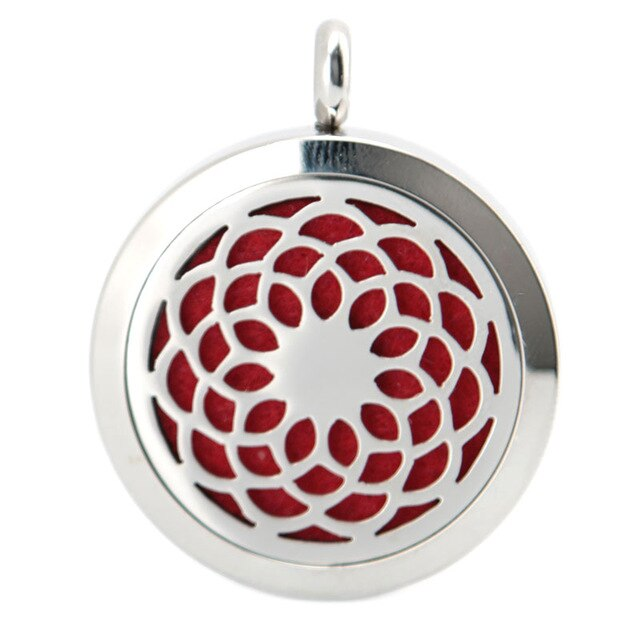 Aroma Therapy Essential Oil Diffuser Necklace - Lotus Flower