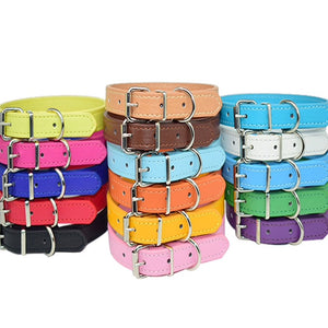 Multi colour leather dog collars
