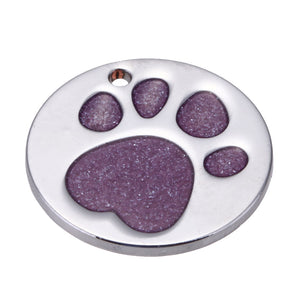 Round Pet ID Tag with Purple Sparkle Paw Inlay