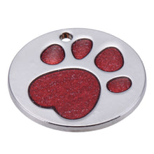 Load image into Gallery viewer, Round Pet ID Tag with Red Sparkle Paw Inlay