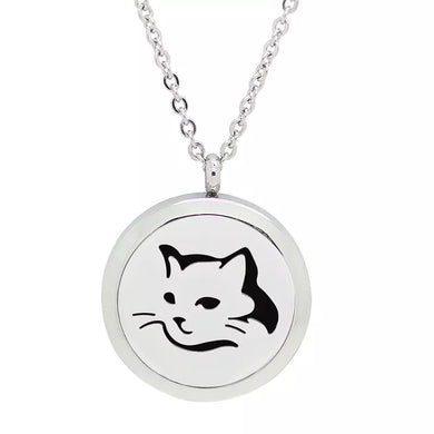 Aroma Therapy Essential Oil Diffuser Necklace - Cat