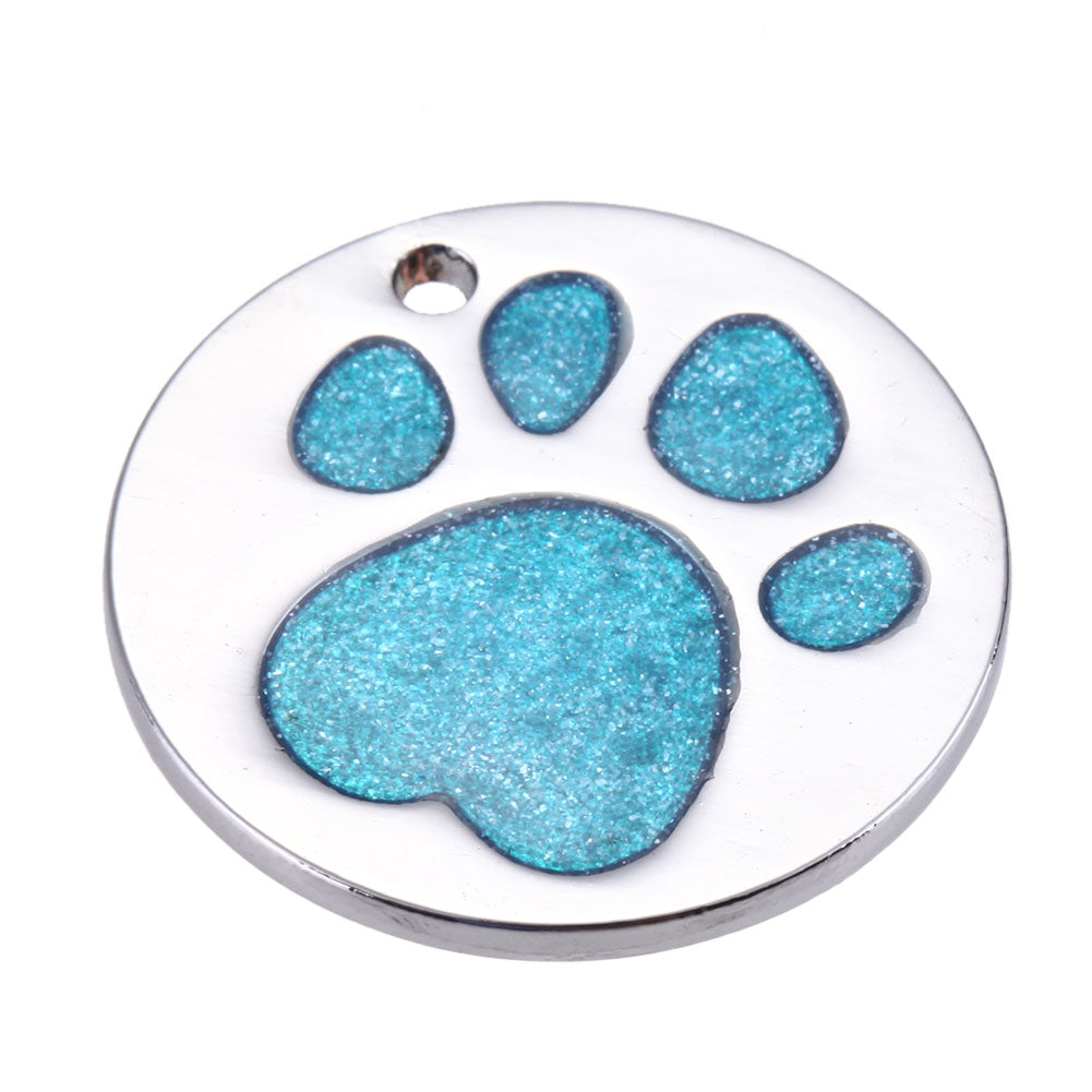 Round Pet ID Tag with Blue Sparkle Paw Inlay