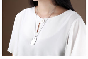 Engraveable Dog Tag Style Necklace - Rounded Corners