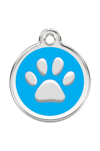 Stainless Steel Circle-Paw Pet ID Tag with Blue Inlay