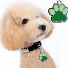 Load image into Gallery viewer, Dog wearing the green paw accessory charm