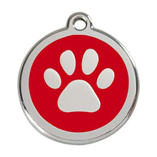 Load image into Gallery viewer, Stainless Steel Circle-Paw Pet ID Tag with Red Inlay