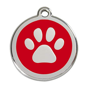 Stainless Steel Circle-Paw Pet ID Tag with Red Inlay