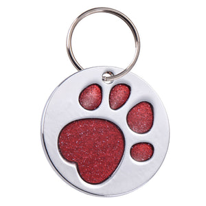 Red Round Pet ID Tag with Sparkle Paw Inlay