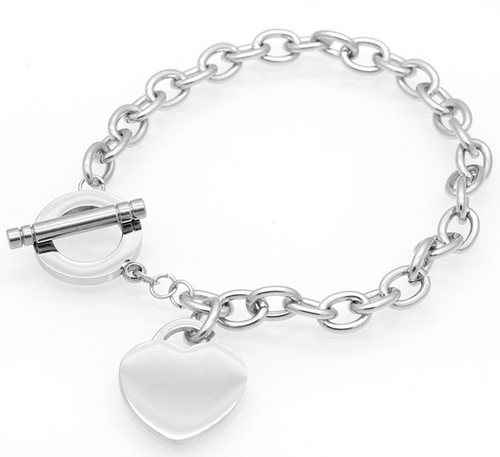 Stainless Steel Heart Charm braclet with T bar clasp