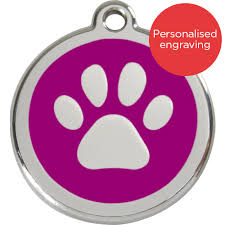 Stainless Steel Circle-Paw Pet ID Tag with Purple Inlay