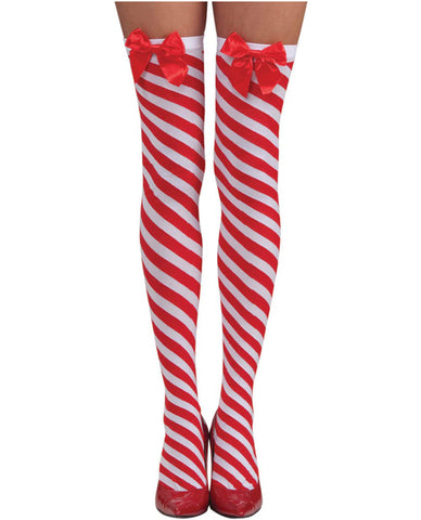 Candy Cane Thigh Highs Red-white O-s