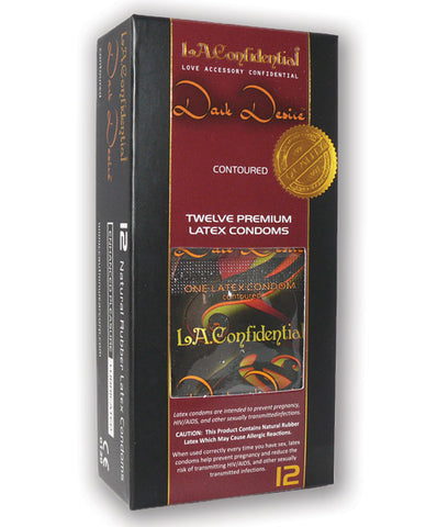 L.a. Confidential Dark Desire Contoured Condoms - Pack Of 12