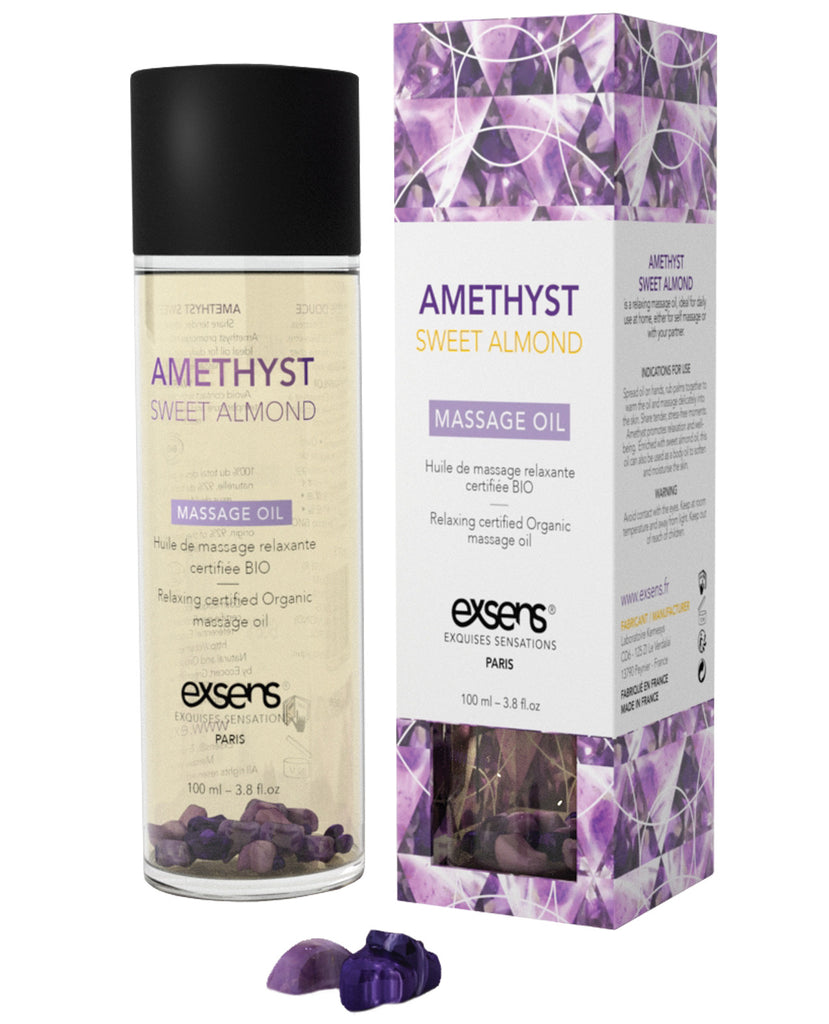 Exsens Of Paris Organic Massage Oil W-stones - Amethyst Sweet Almond