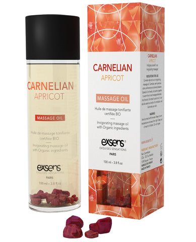 Exsens Of Paris Organic Massage Oil W-stones - Carnelian Apricot